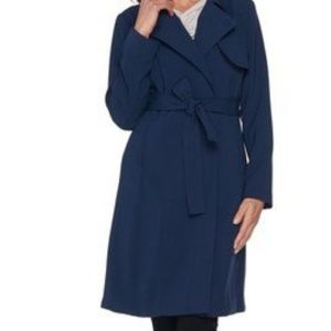 H by Halston Knee Length Trench Coat - Navy